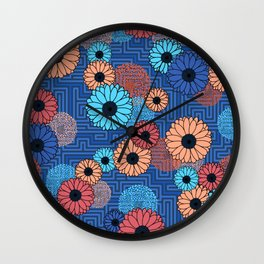 Modern abstract florals with voice and noise Wall Clock