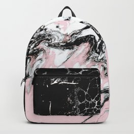 pink and black marble Backpack
