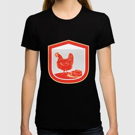 Hen Chicken Nest Egg Shield Retro T-shirt