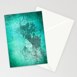 Turquoise Seattle Map Design Stationery Cards