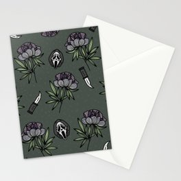 ghostface w knife ~green tones Stationery Cards