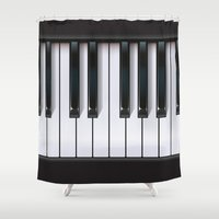 piano Shower Curtains featuring Piano by rob art | illustration
