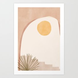 Abstract Stairway with Plant Art Print
