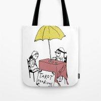 tarot Tote Bags featuring Tarot Reader by hannah koslosky