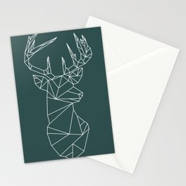 Geometric Stag (White on Slate) Stationery Cards