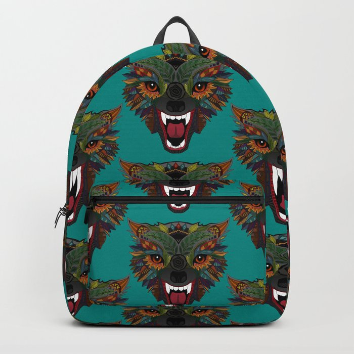 wolf fight flight teal Backpack