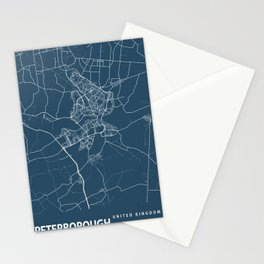 Peterborough Blueprint Street Map, Peterborough Colour Map Prints Stationery Cards
