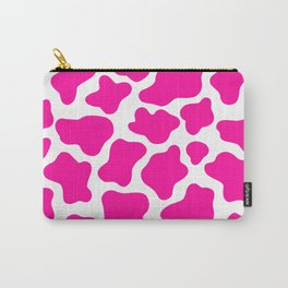 Neon Pink Cow Print Carry-All Pouch