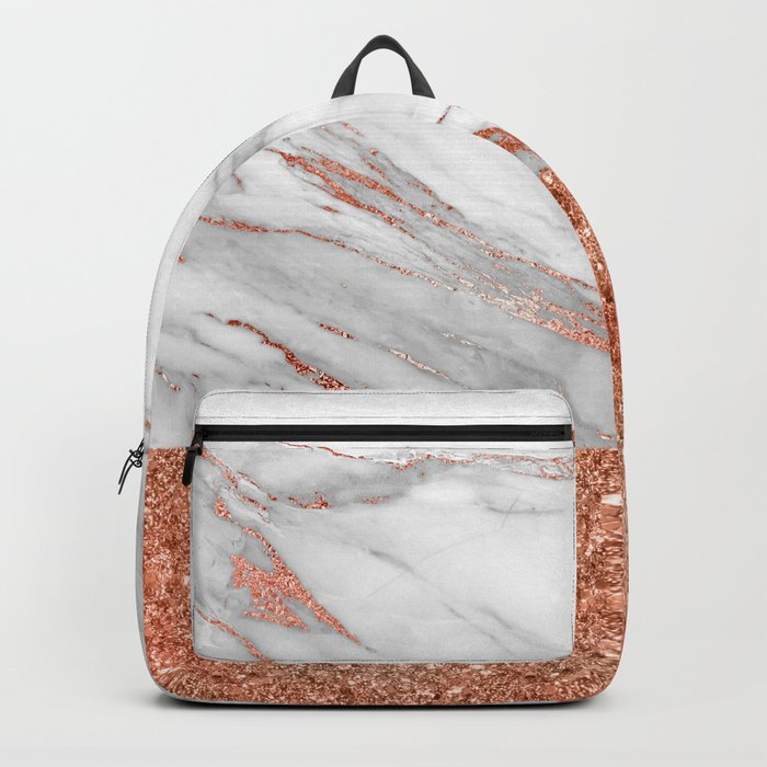 Luxury and glamorous pink glitter and white marble Backpack