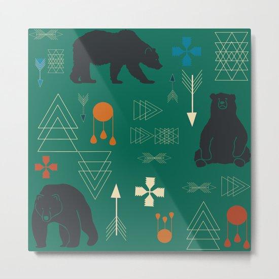 Tribal bear Green Metal Print