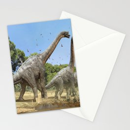 Dinosaurs walking on the river Stationery Cards