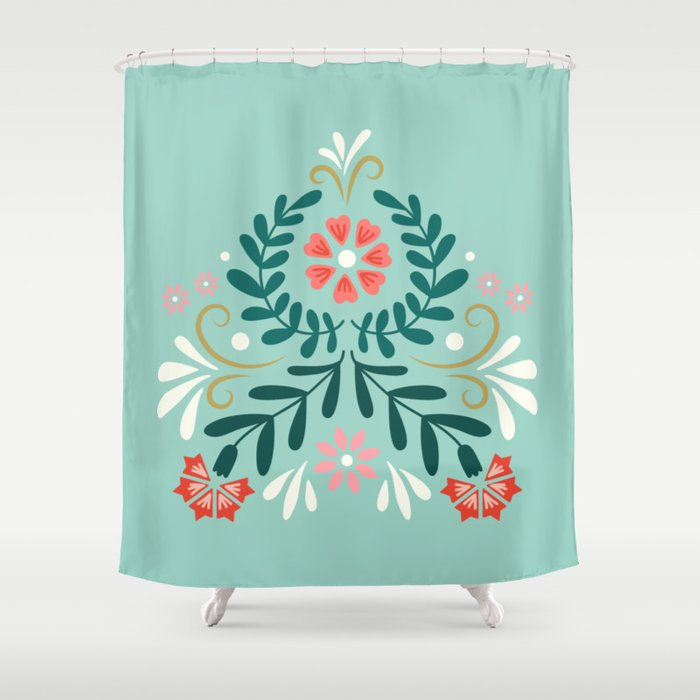 Floral Folk Pattern Shower Curtain