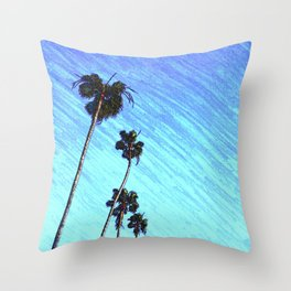 Palms in the Blue Throw Pillow