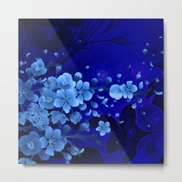 Cherry blossom, blue colors Metal Print