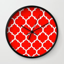 MOROCCAN RED AND WHITE PATTERN Wall Clock