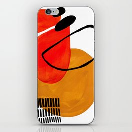 Mid Century Modern Abstract Vintage Pop Art Space Age Pattern Orange Yellow Black Orbit Accent iPhone Skin