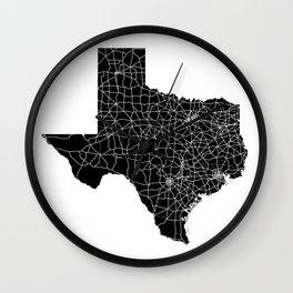 Texas Black Map Wall Clock