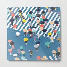 Crossing The Street On a Rainy Day - Blue Metal Print
