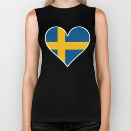 Swedish Flag Heart Biker Tank