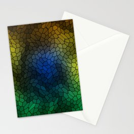 Volumetric texture of pieces of light blue glass with a dark mysterious mosaic. Stationery Cards