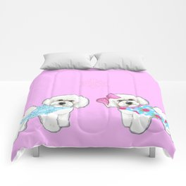 Bichon Frise Dogs in love- wearing pink and blue coats Comforters