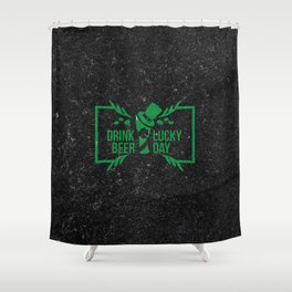 Retro Vintage Happy St Patricks Day Green Beer Shower Curtain