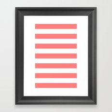 Coral White Stripes Framed Art Print
