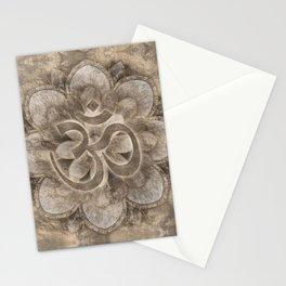 Om Symbol Lotus flower Vintage gold Stationery Cards
