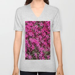 Deep pink small flowers Unisex V-Neck