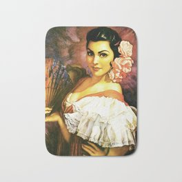 Jesus Helguera Painting of a Mexican Calendar Girl with Fan Bath Mat