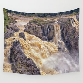 Powerful water going over the falls Wall Tapestry