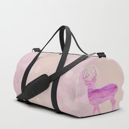 Dreamy Fairy Tale Pink Deer Bokeh Light Duffle Bag