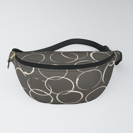 Circles Geometric Pattern Chocolate Brown Antique White Fanny Pack