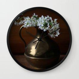 Bird Cherry in the vintage jar Wall Clock