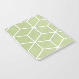 Lime Green and White - Geometric Textured Cube Design Notebook