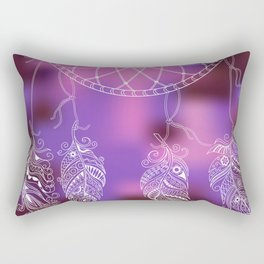 violet ethnic pattern with feathers Rectangular Pillow