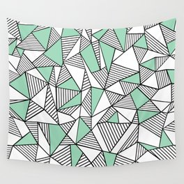 Abstraction Lines with Mint Blocks Wall Tapestry