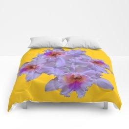 WHITE-PURPLE ORCHIDS YELLOW GARDEN Comforters