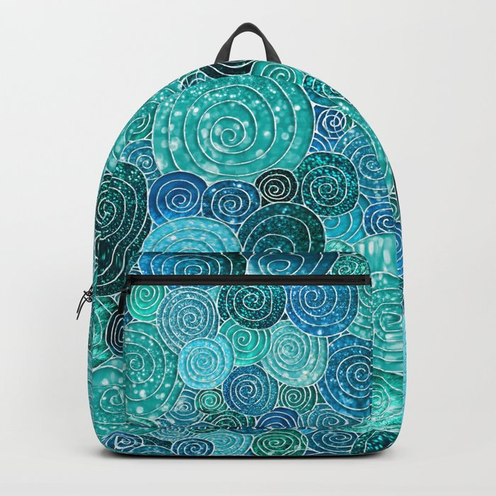 Abstract blue& green glamour glitter circles and dots for Girls and ladies Backpack