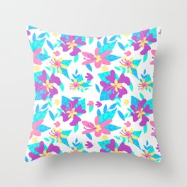 Neon Flowers Throw Pillow