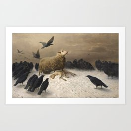 Anguish - August Friedrich Albrecht Schenck - Ravens and Sheep Art Print