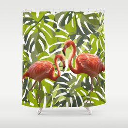 flamingo monstera leaves jungle Shower Curtain