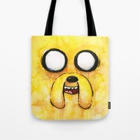 jake Tote Bags featuring Jake Face by Olechka