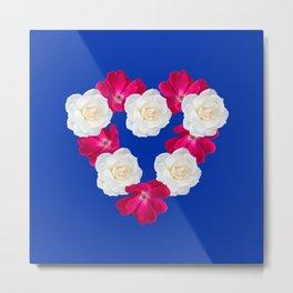 Rose Heart Electric Blue Metal Print