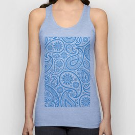 Light-blue and white vintage ham paisley pattern Unisex Tank Top
