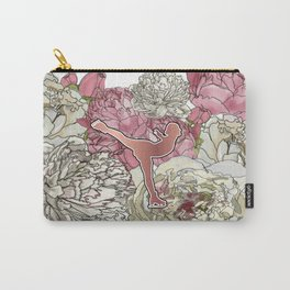 Rose Gold Figure Skater on Peonies Graphic Design Carry-All Pouch