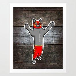 Gato Luchador - Cat Luchadore - Wrestler Kitty Art Print