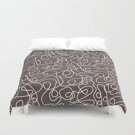 Doodle Line Art   White Lines on Brown Duvet Cover