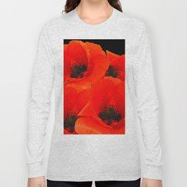 RED-ORANGE ORIENTAL POPPIES GRAPHIC ART Long Sleeve T-shirt