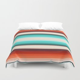 Navajo White, Turquoise and Burnt Orange Southwest Serape Blanket Stripes Duvet Cover